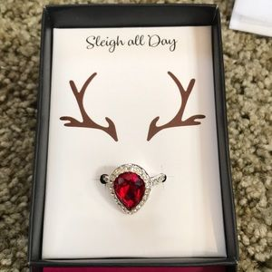 Red tear drop ring